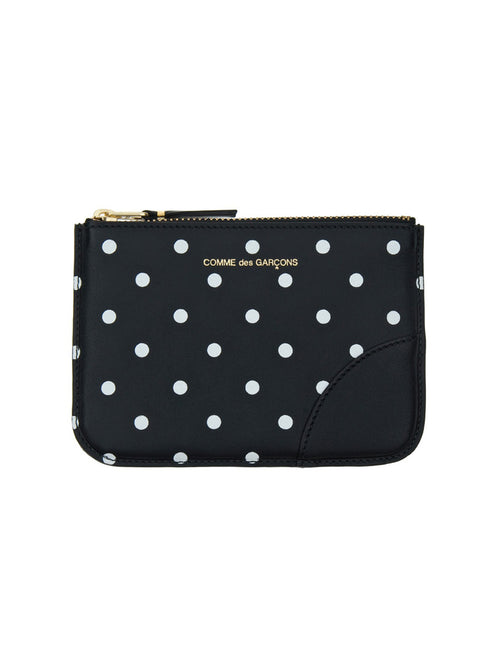 Printed Dot Small Leather Zip Pouch