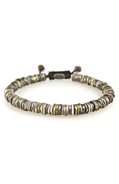 M. Cohen Silver and Brass Stacked Carved Disc Bracelet at Ron Herman