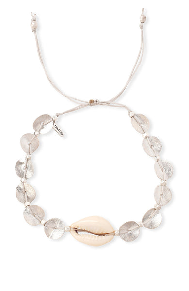 Chan Luu Sterling Silver Sequin and Cowery Shell Bracelet