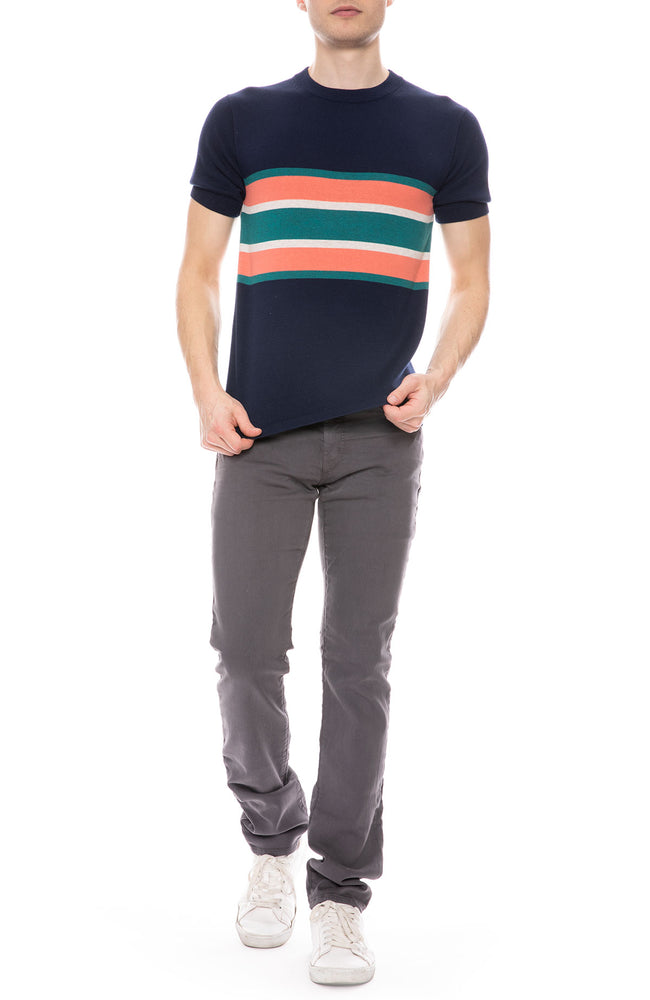 Sweater Tee with Contrast Stripes