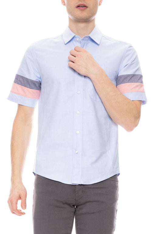 Panel Striped Short Sleeve Oxford Shirt