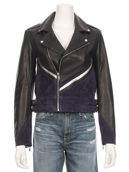 The Champagne Leather Suede Moto Jacket