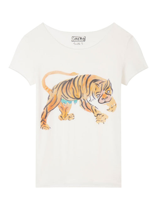 Tiger Attack Short Sleeve Raw Edge Tee