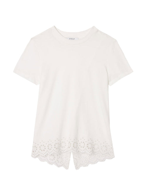 Split Back Tee with Eyelet Embroidery
