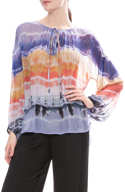 Raquel Allegra Shirred Waterfall Rainbow Tie-Dye Blouse