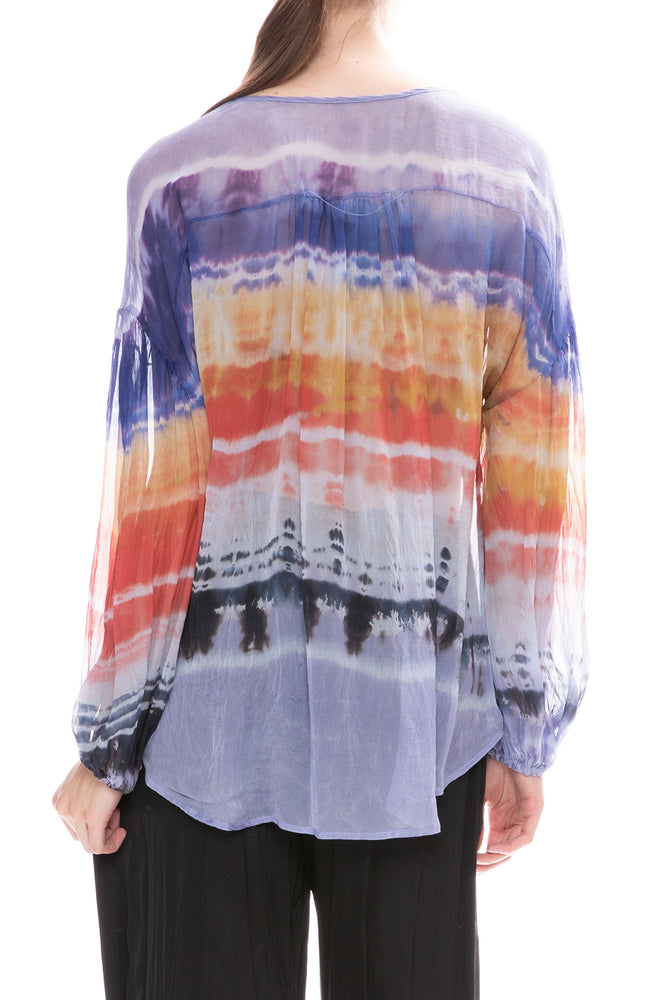 Raquel Allegra Shirred Tie-Dye Blouse in Waterfall Rainbow