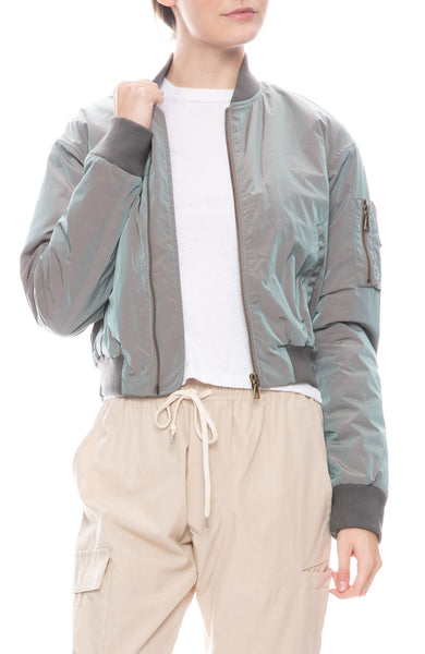 Iridescent Hunter Cropped Bomber Jacket