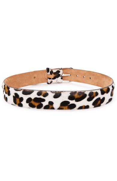 W. Kleinberg White Leopard Print Calf Hair Belt with Silver Buckle at Ron Herman