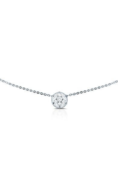 Carbon & Hyde 14K White Gold Bullet Choker Necklace with Diamond Circle Shape Charm at Ron Herman