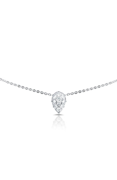 Carbon & Hyde 14K White Gold Venus Choker Necklace with Diamond Pear Shape Charm at Ron Herman