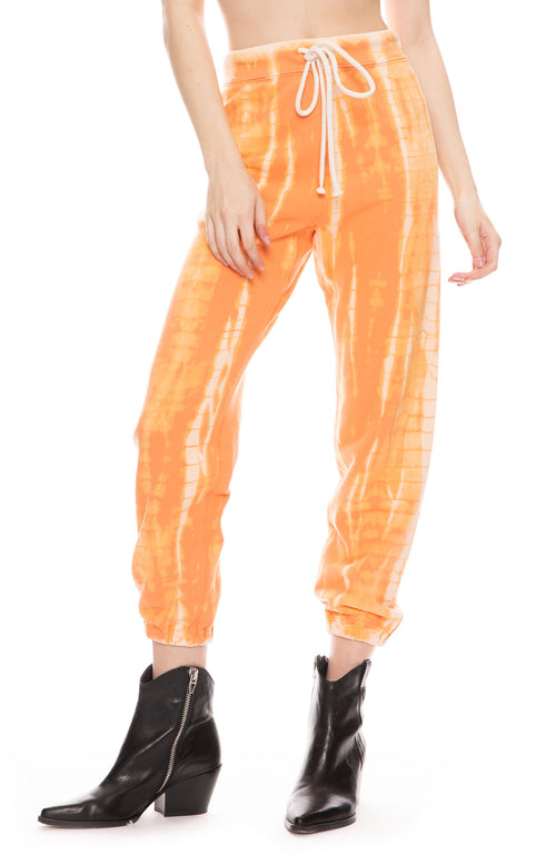 Athletic Sweatpants in Orange Tie Dye