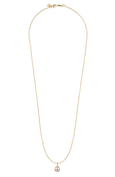 Sydney Evan 14K Yellow Gold Mini Micro Pave Rainbow Peace Sign Necklace at Ron Herman