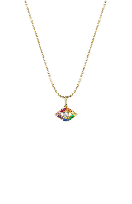 Large Bezel Rainbow Evil Eye Necklace