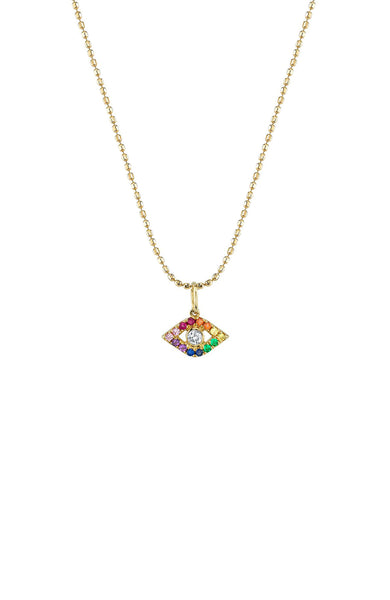 Sydney Evan 14K Yellow Gold Large Bezel Rainbow Evil Eye Necklace at Ron Herman