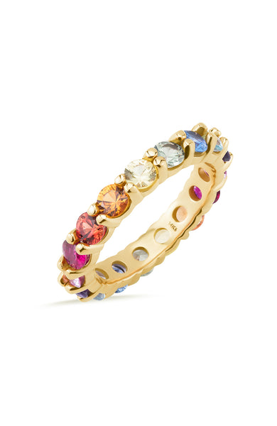 Carbon & Hyde Large Rainbow Eternity Band in Yellow Gold