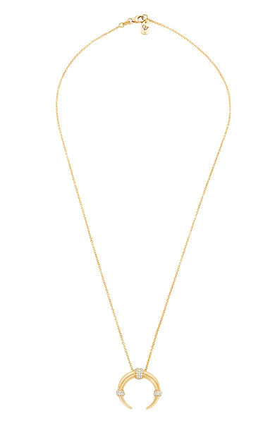 Carbon & Hyde Yellow Gold Dharma Necklace with White Gold Diamond Accents