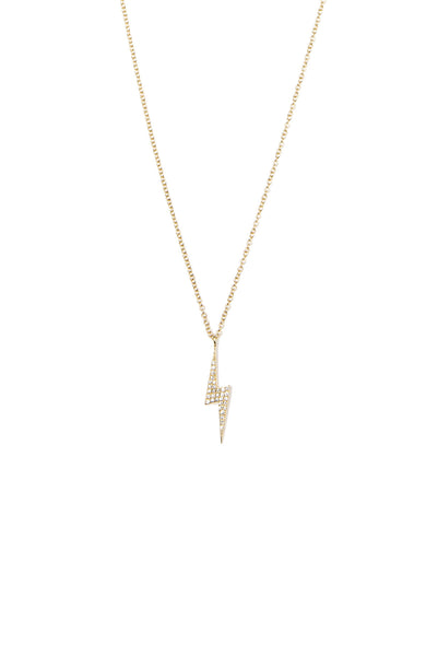 Shain Leyton Yellow Gold Diamond Lighting Bolt Necklace at Ron Herman