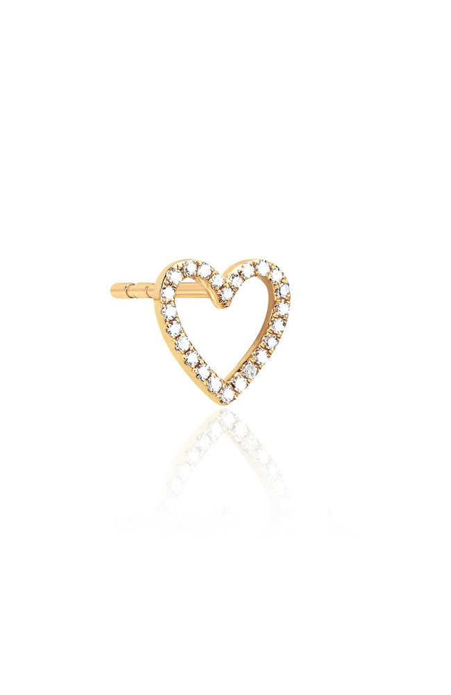EF Collection Yellow Gold Diamond Open Heart Stud Earring at Ron Herman