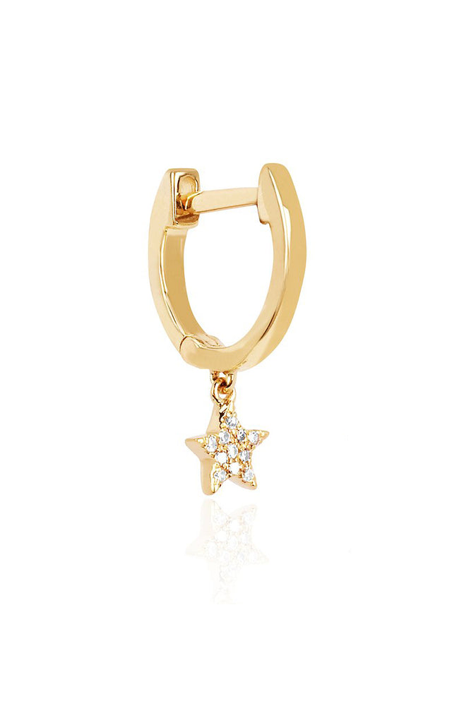 EF Collection Yellow Gold Mini Huggie Earring with Diamond Star Drop at Ron Herman