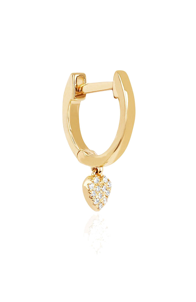 EF Collection Yellow Gold Mini Huggie Earring with Diamond Heart at Ron Herman