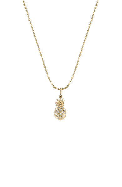 Sydney Evan 14K Yellow Gold Pave Diamond Pineapple Necklace at Ron Herman
