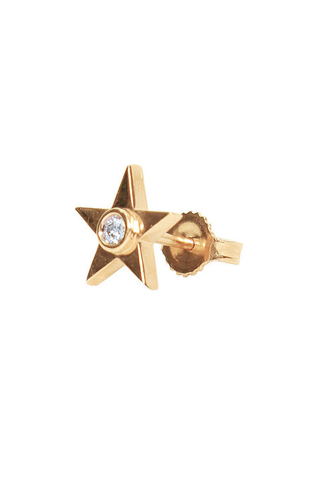 Single Star Stud Earring with Diamond