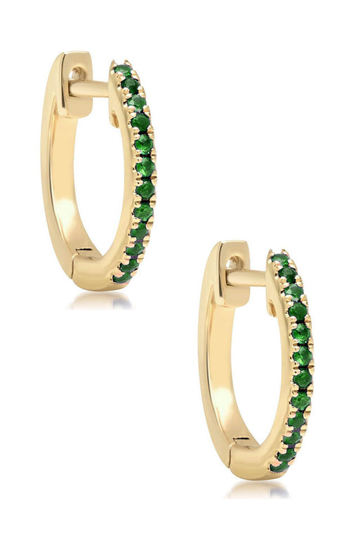 Shain Leyton 14K Yellow Gold Emerald Huggies at Ron Herman