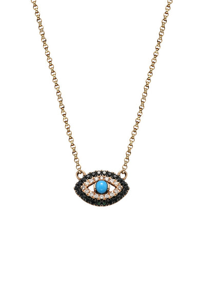 Diamond Evil Eye Necklace with Turquoise Center