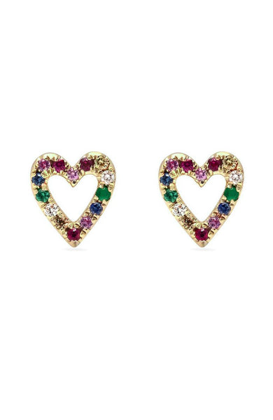 Shain Leyton 14K Yellow Gold Rainbow Sapphire Heart Earrings