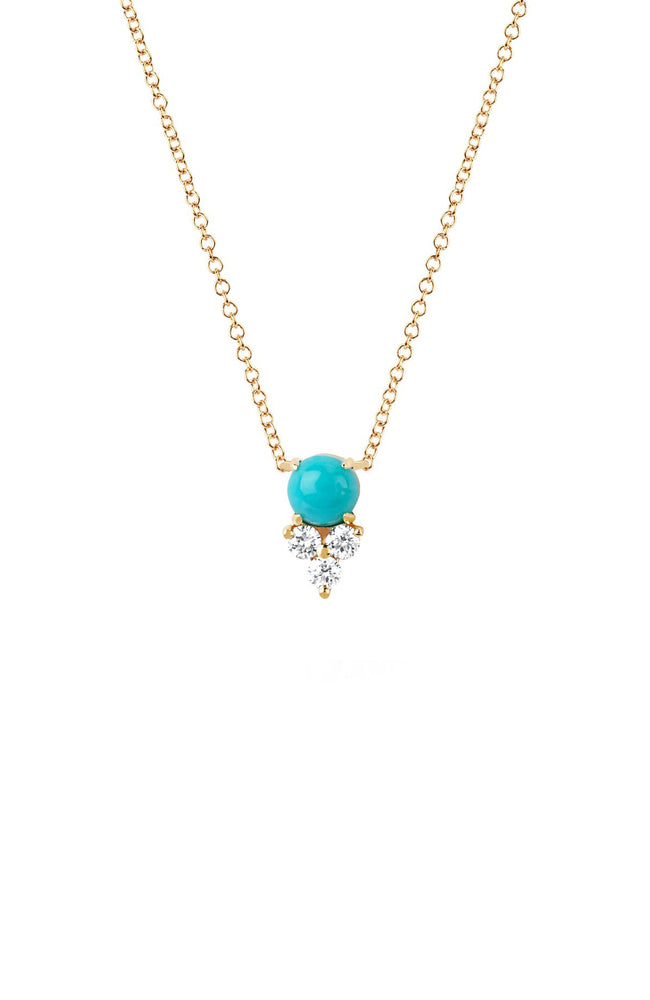 EF Collection Yellow Gold Turquoise and Diamond Trio Necklace at Ron Herman