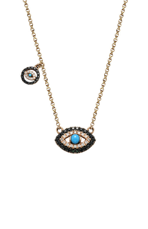 Double Diamond Evil Eye Necklace with Charm