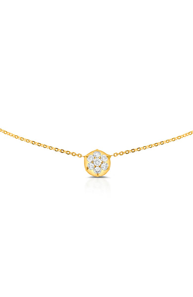 Carbon & Hyde 14K Yellow Gold Bullet Choker Necklace with Diamond Circle Shape Charm at Ron Herman