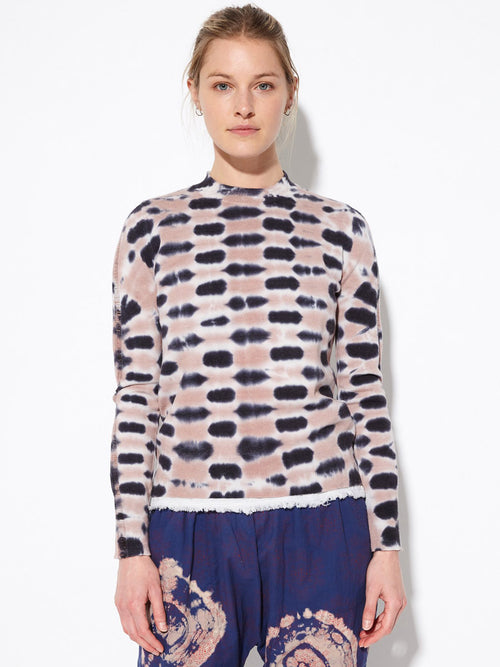 Checkered Tie Dye Cotton Cashmere Sweater