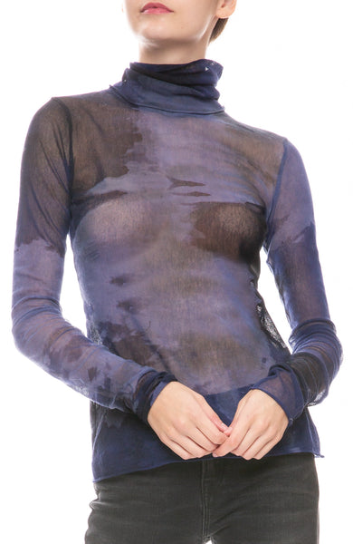 Fitted Mesh Tie-Dye Turtleneck