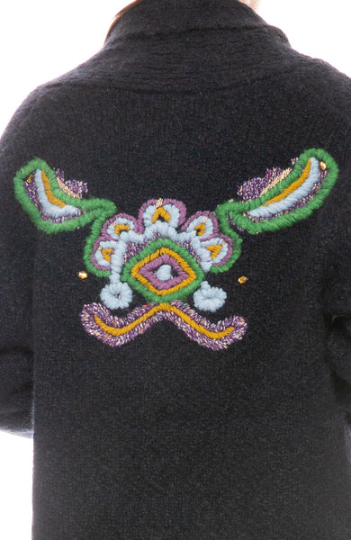 Shawl Cardigan with Tapestry Intarsia