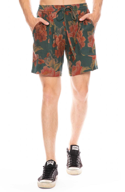 Exclusive Floral Plaid Silk Lounge Shorts