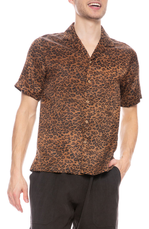Camp Collar Leopard Shirt