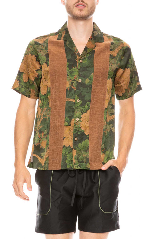 Jungle Stripe Camp Collar Shirt