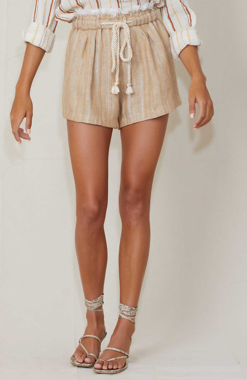 FORTE FORTE Cotton Herringbone Shimmer Shorts
