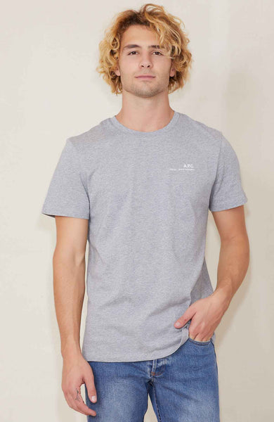 A.P.C. Small Logo Tee in grey with logo on left chest