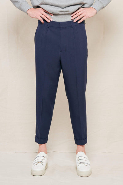 AMI PANTS NAVY 410 / 38 Tapered Cropped Pleated Wool Suit Trousers Image