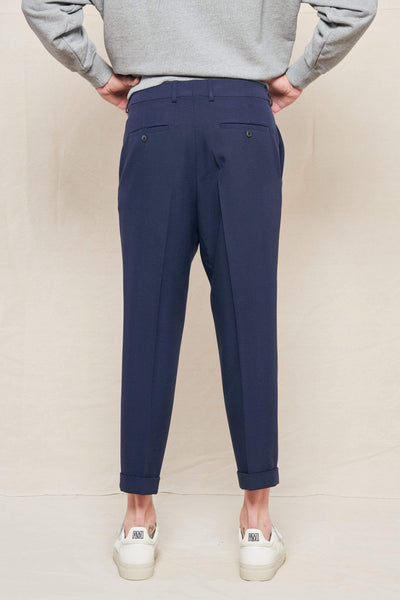AMI PANTS Tapered Cropped Pleated Wool Suit Trousers Image