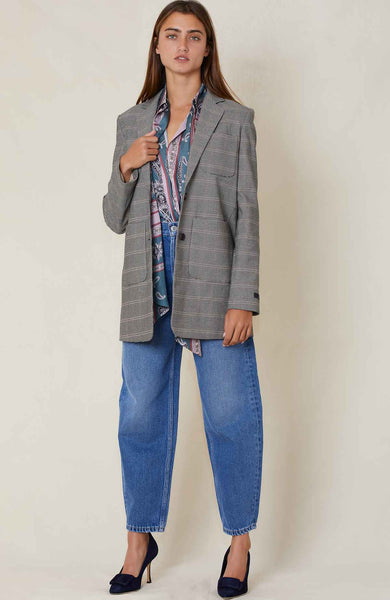 ROKH Patch Pocket Plaid Blazer