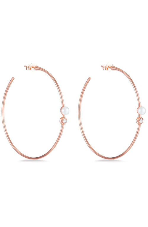 CARBON & HYDE EARRINGS ROSE GOLD / O/SZ Rosette Pearl Hoops Image