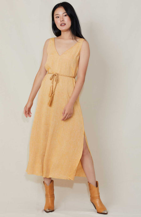 Belted Linen Dress