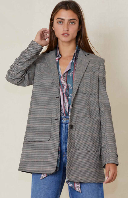 Patch Pocket Plaid Blazer