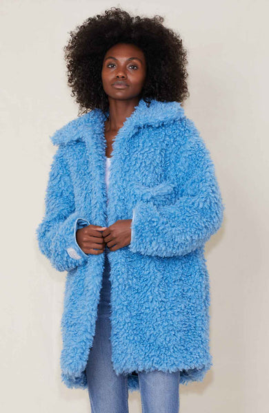 Stella McCartney Oversized Faux Fur Coat in Blue