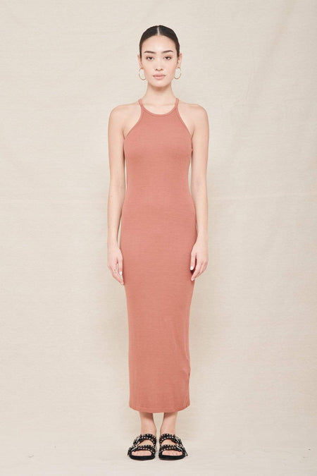 Silk Rib Reverse Racer Maxi Dress