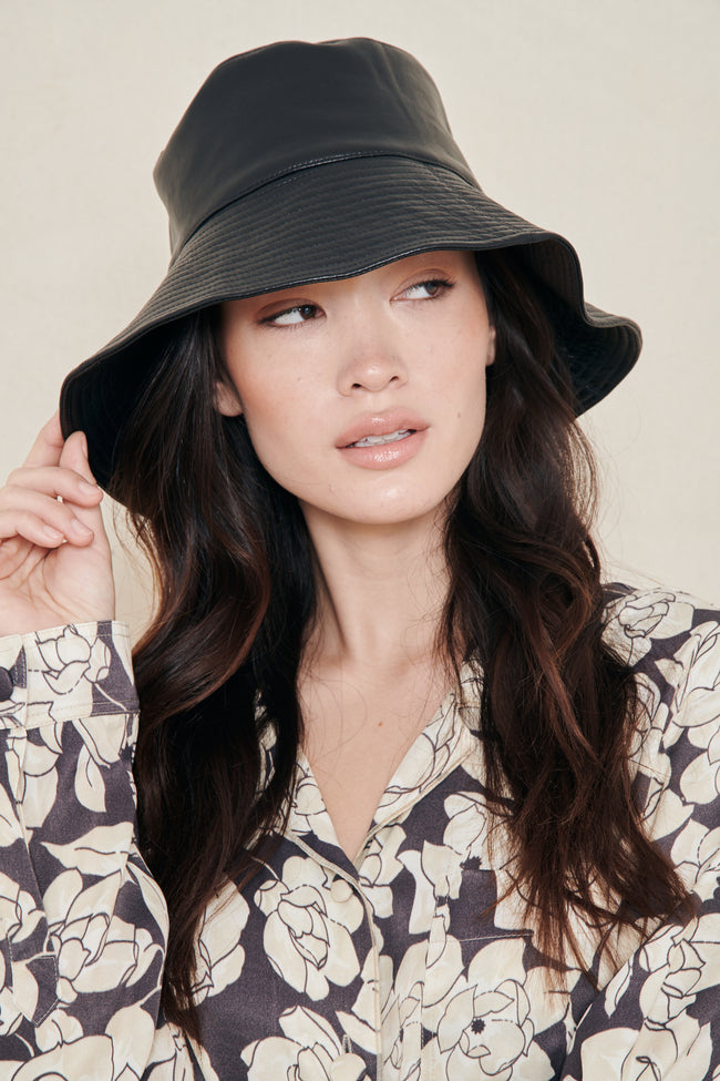 Serge Leather Bucket Hat
