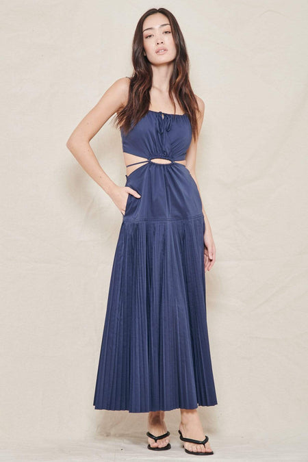 Rem Pleated Poplin Cutout Pleated Maxi Dress